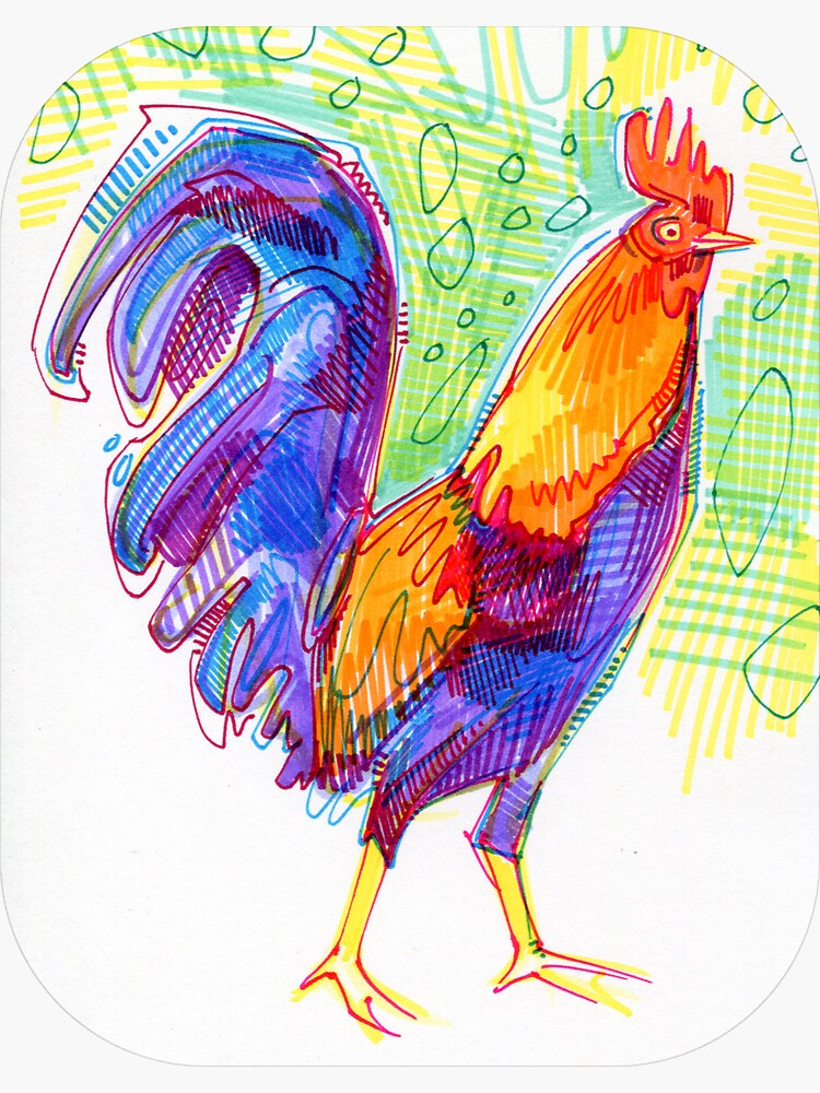 Rooster Drawing - 2011 by gwennpaints
