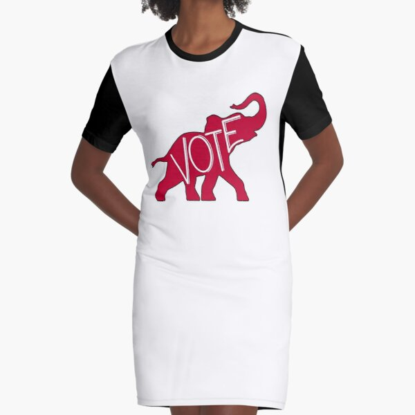 Vote Republican Party Red Elephant Graphic T-Shirt Dress