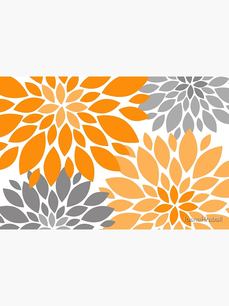 Orange and Gray Dahlia Floral Pattern by IoanaHraball