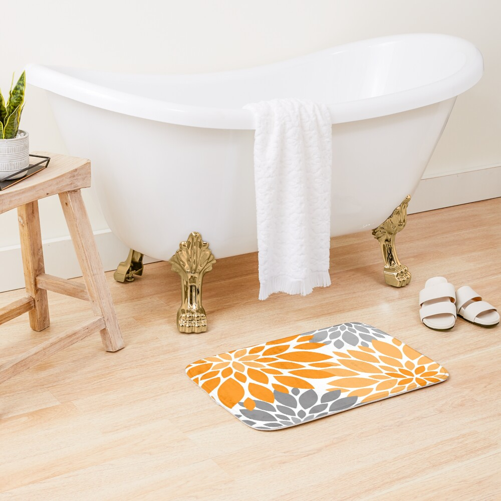 Orange and Gray Dahlia Floral Pattern Bath Mat