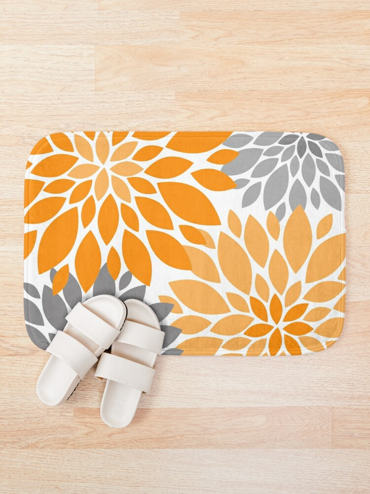 Alternate view of Orange and Gray Dahlia Floral Pattern Bath Mat