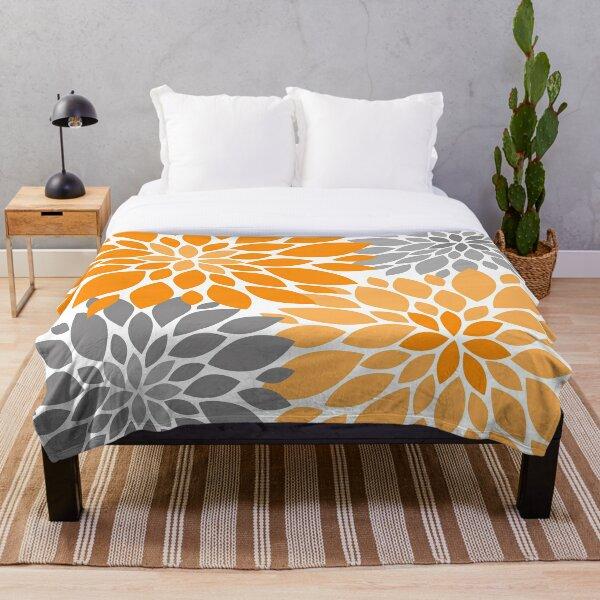 Orange and Gray Dahlia Floral Pattern Throw Blanket