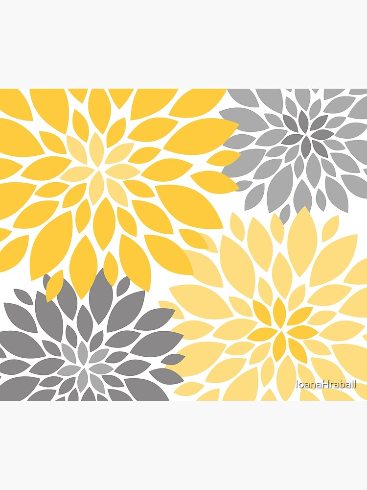 Yellow and Gray Dahlia Floral Pattern by IoanaHraball