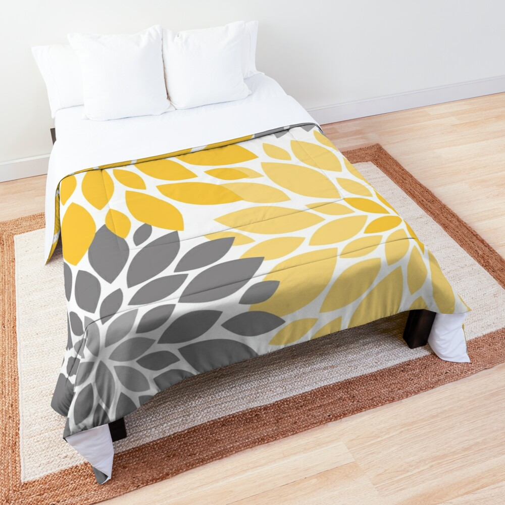 Yellow and Gray Dahlia Floral Pattern Comforter