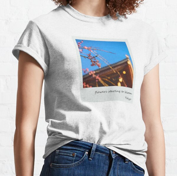 Cherry blossoms starting to bloom in Asakusa, Tokyo Classic T-Shirt
