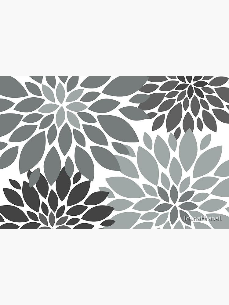 Light and dark Gray Dahlia Floral Pattern  by IoanaHraball