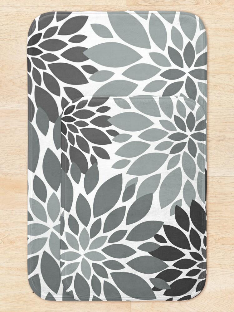 Alternate view of Light and dark Gray Dahlia Floral Pattern  Bath Mat