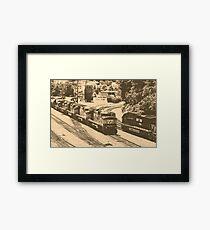 Passing Trains (Antique Sepia Version) Framed Print