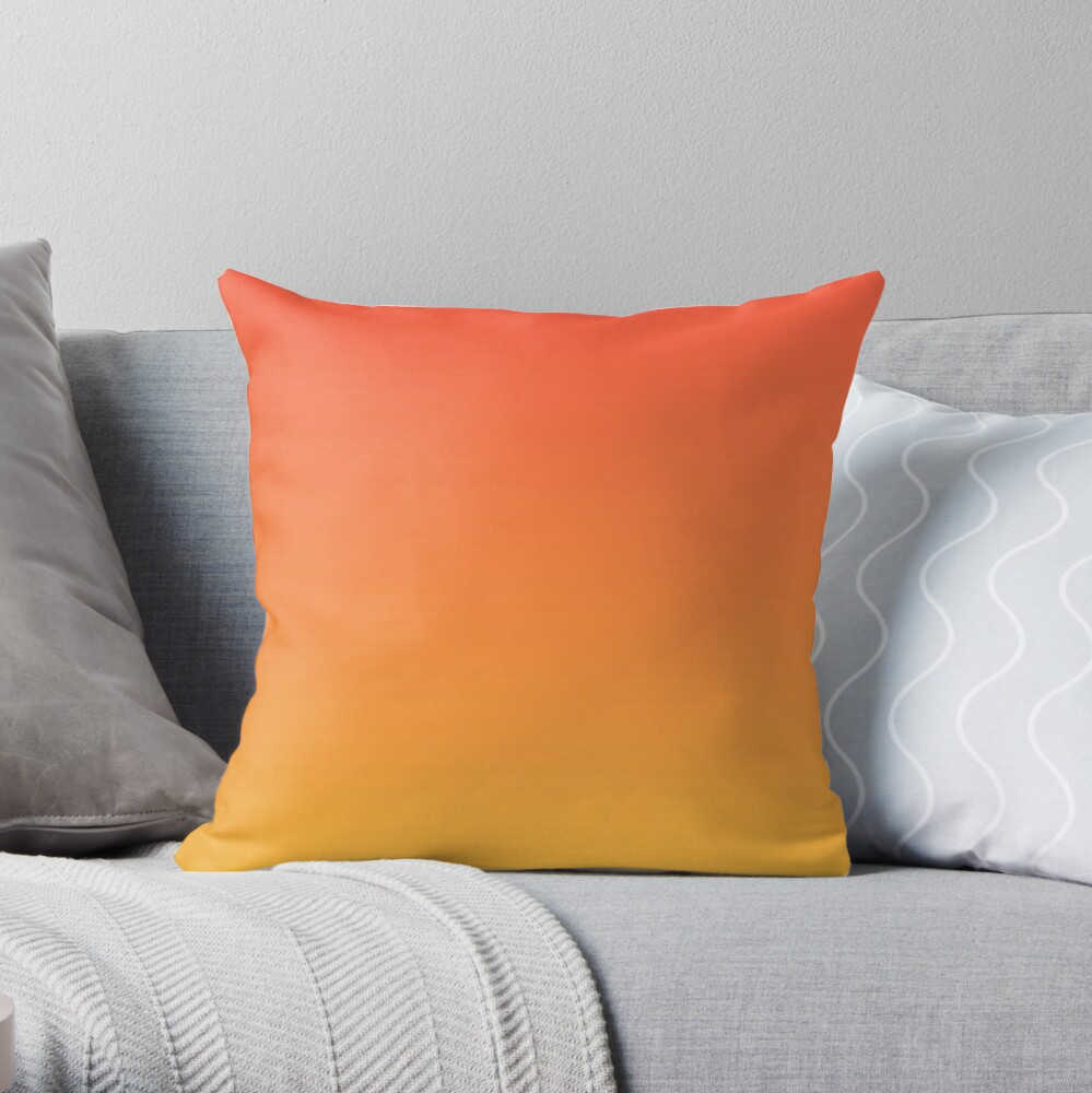 modern trendy abstract Yellow Orange Ombre Throw Pillow
