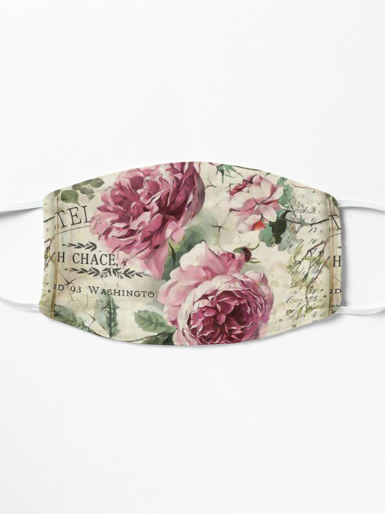 Alternate view of French Shabby Chic Pink Roses Mask