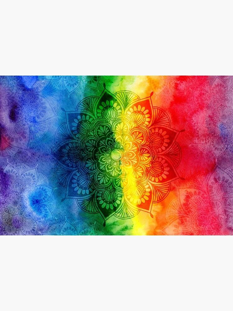 Pride Rainbow Watercolor Mandala by Talshiar