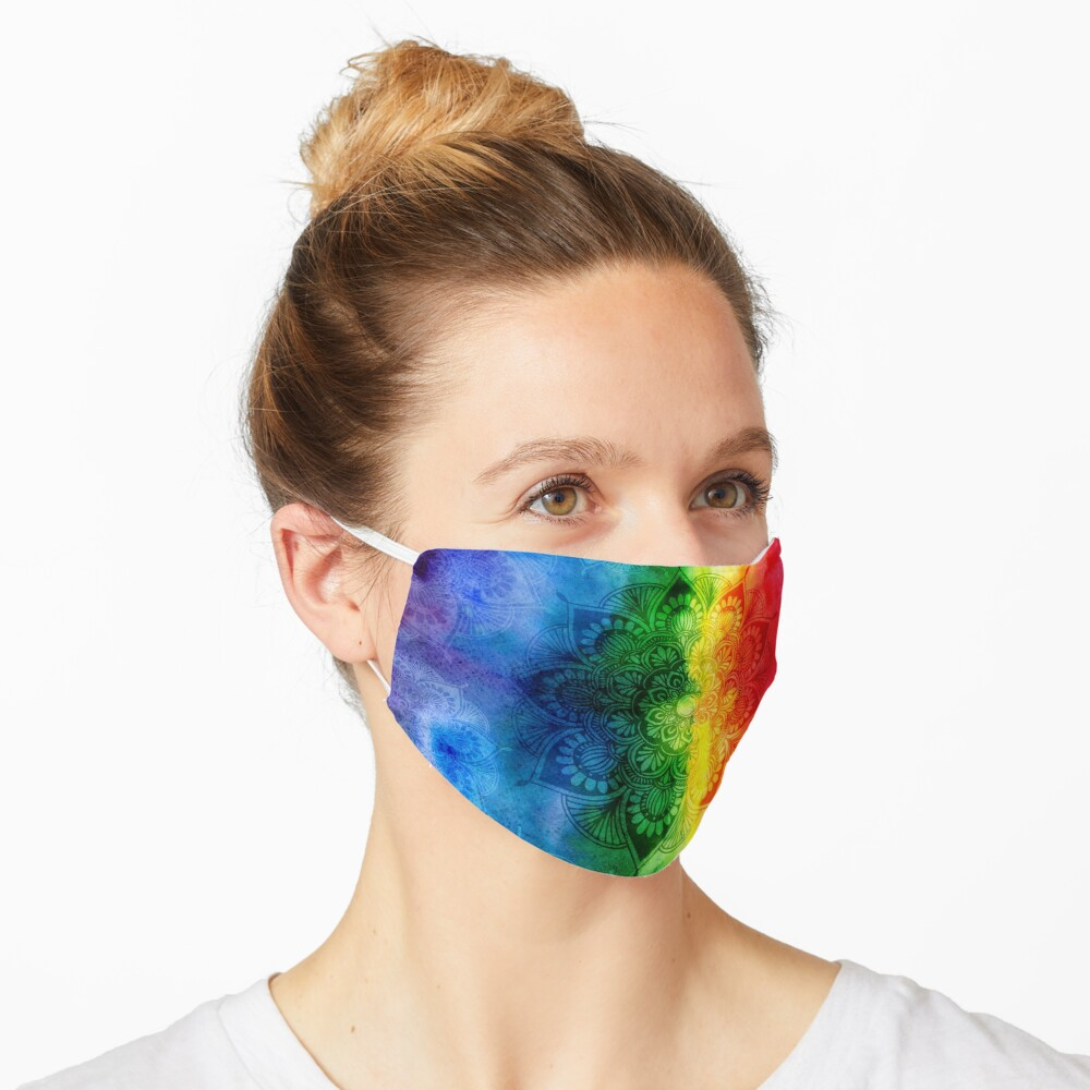 Pride Rainbow Watercolor Mandala Mask