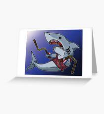 Shark with Nunchucks Greeting Card