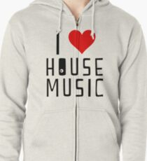 i love house music Zipped Hoodie