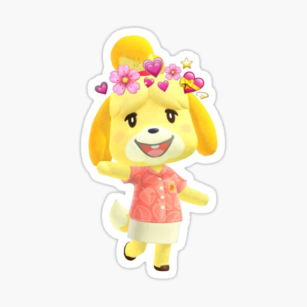 Animal Crossing Isabelle with Emoji Crown Sticker