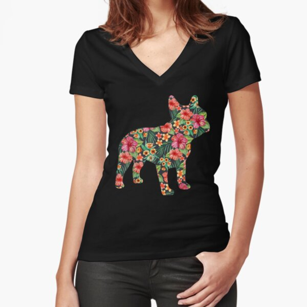 French Bulldog Flower Floral Frenchie Dog Silhouette Fitted V-Neck T-Shirt