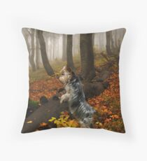 Yorkie On The Hunt Throw Pillow
