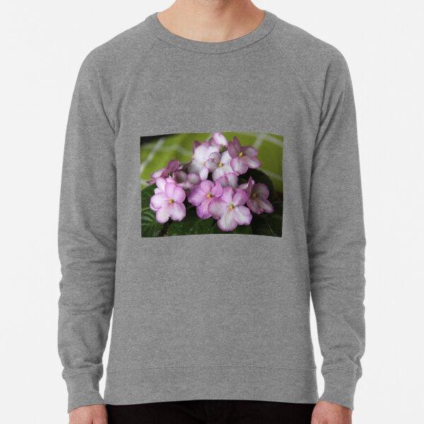 African Violets on Green Tablecloth Lightweight Sweatshirt