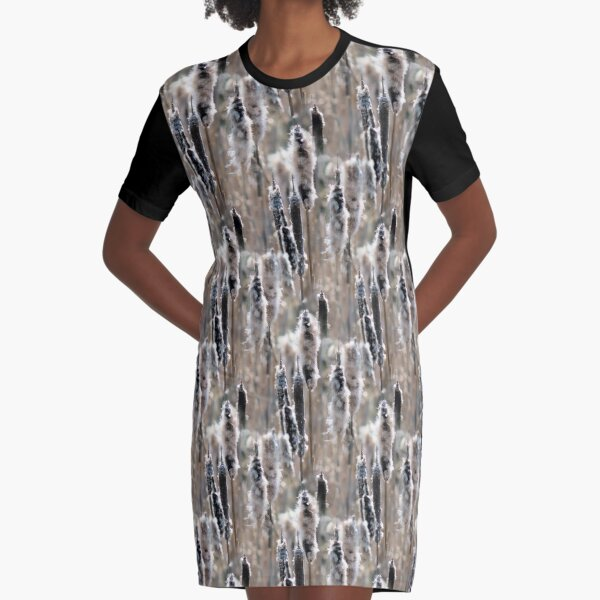 Faded Cattails Nature Pattern Graphic T-Shirt Dress
