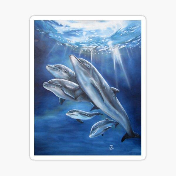 Artwork of Bottlenose Dolphin Family Having Fun Sticker