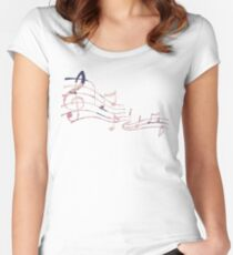 Floral Music Note Women's Fitted Scoop T-Shirt