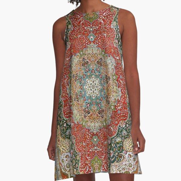 Antique Floral Persian Carpet Print A-Line Dress
