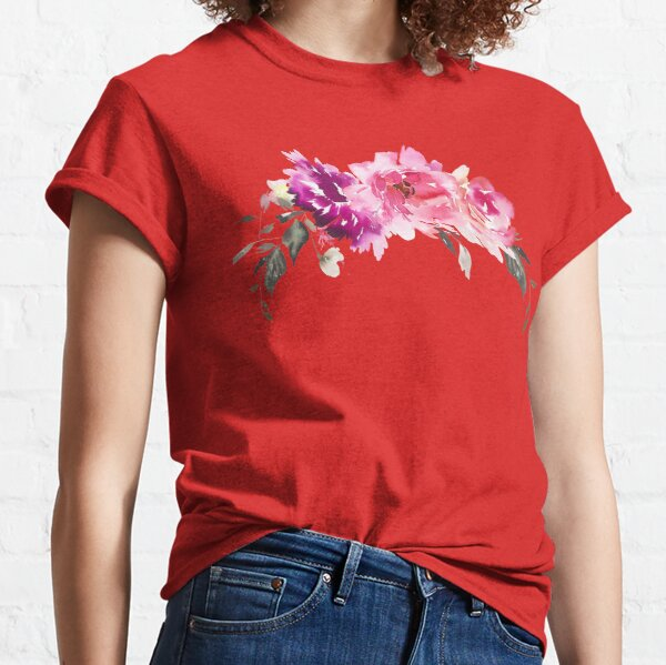 Purple Fuchsia Pink Watercolor Florals Classic T-Shirt