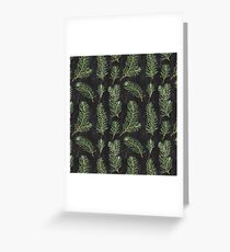 Watercolor pine branches pattern on black background Greeting Card