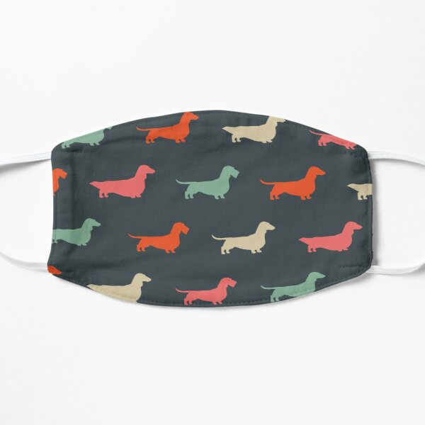 Dachshund Silhouettes Pattern | Colorful Longhaired, Wirehaired and Smooth Coated Wiener Dogs  Flat Mask