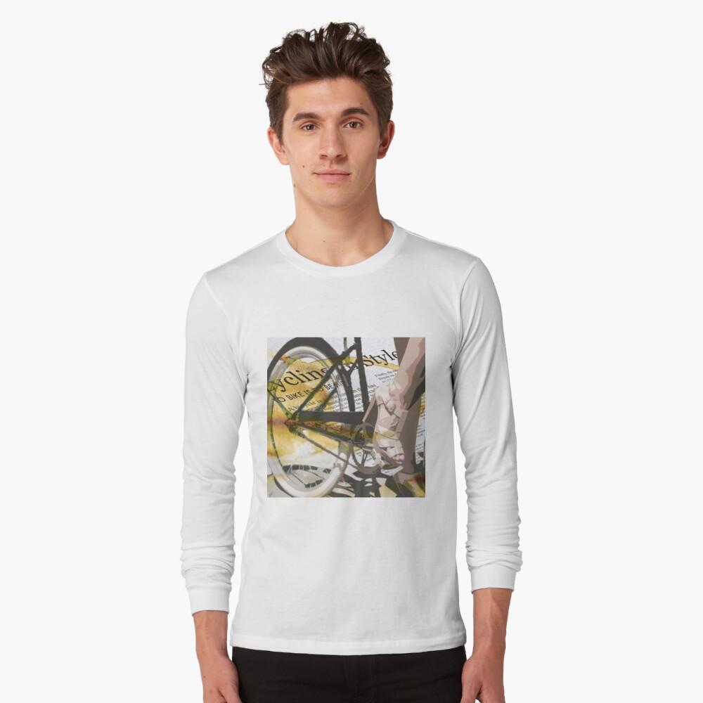 retro BICYCLE URBAN CHIC print Long Sleeve T-Shirt