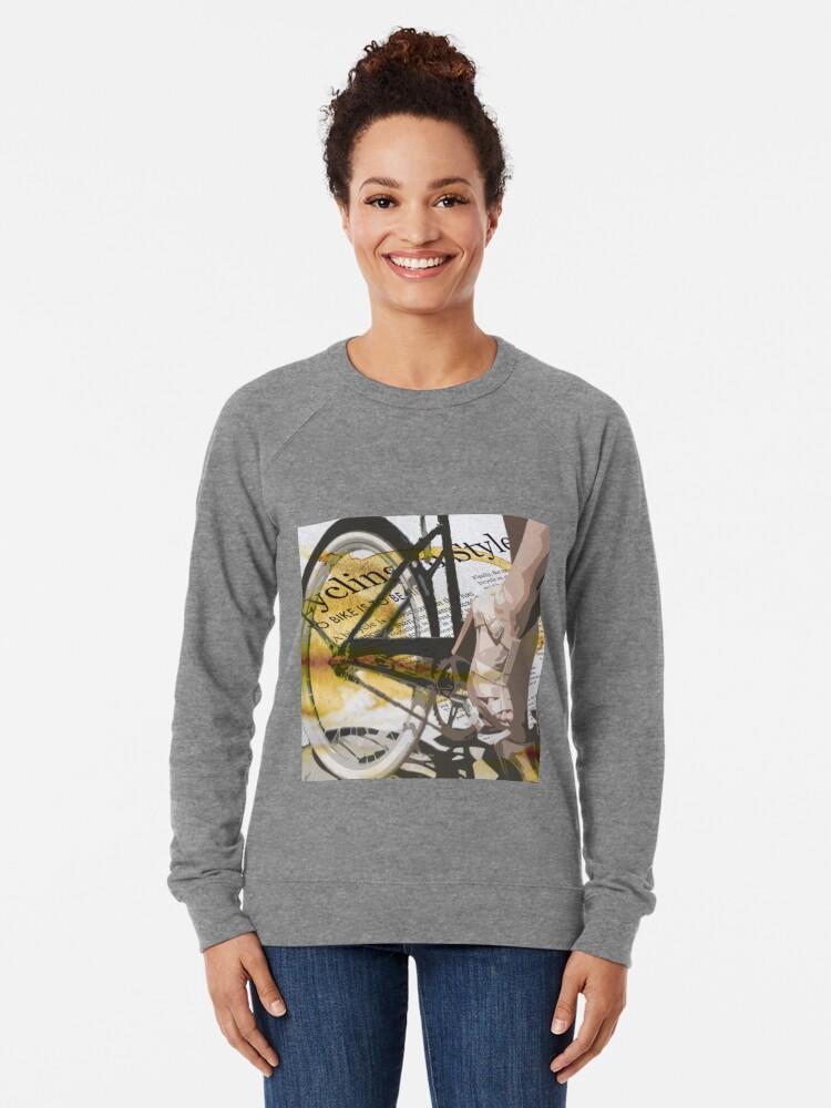 Alternate view of retro BICYCLE URBAN CHIC print Lightweight Sweatshirt