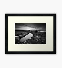 Salt Marsh Sunset BW Framed Print