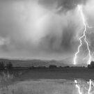 Lightning Striking Longs Peak Foothills 6BW by Bo Insogna