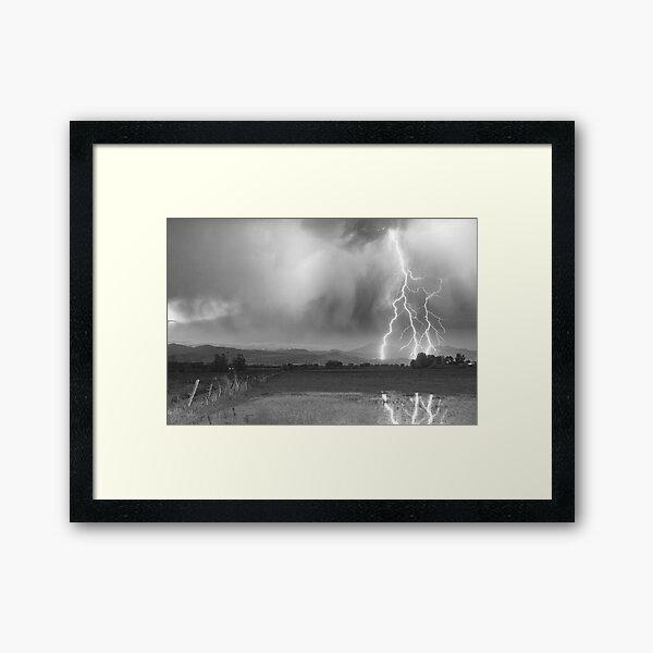 Lightning Striking Longs Peak Foothills 6BW Framed Art Print