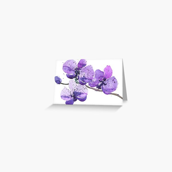 Purple Orchid Watercolor Greeting Card