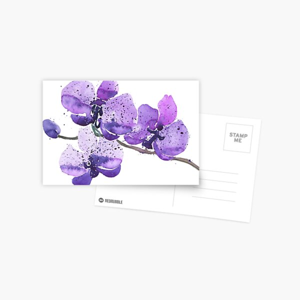 Purple Orchid Watercolor Postcard