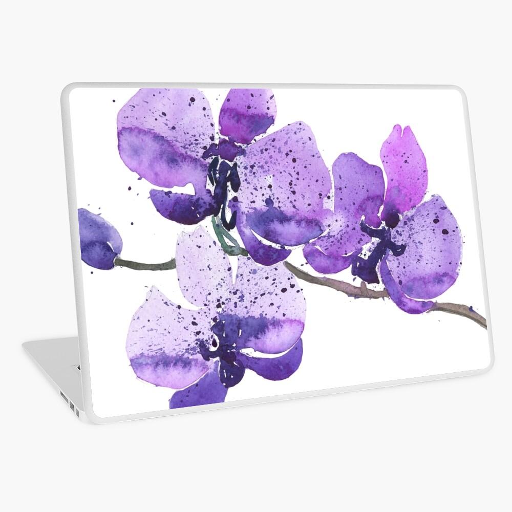 Purple Orchid Watercolor Laptop Skin