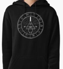 Gravity Falls Bill Cipher - White on Black Pullover Hoodie