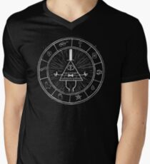 Gravity Falls Bill Cipher - White on Black Men's V-Neck T-Shirt