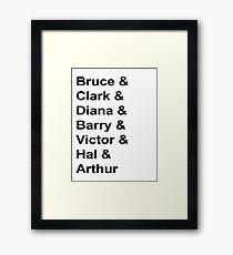 Justice League Names Framed Print