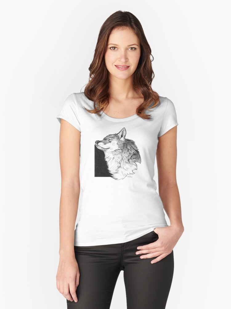 Sunny Wolf Women's Fitted Scoop T-Shirt Front