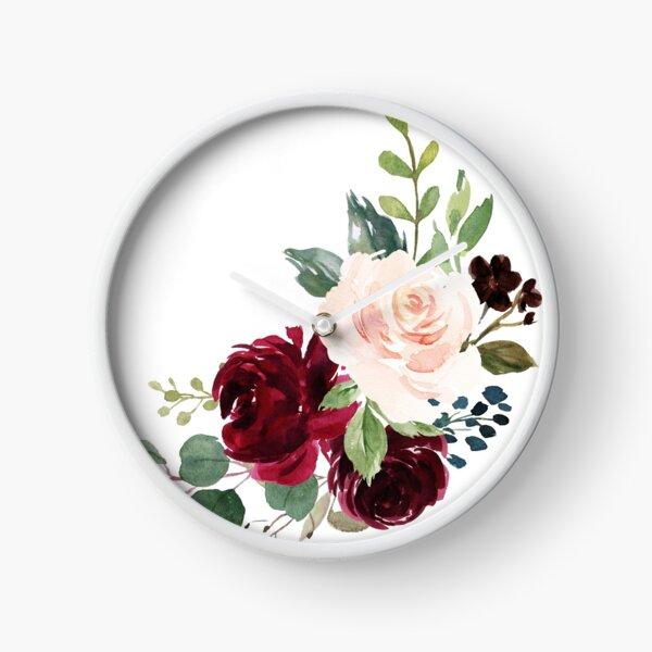 Pink burgundy floral bouquet Clock