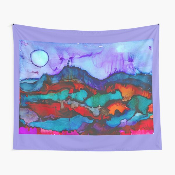Night in the mountains alcohol ink painting Tapestry