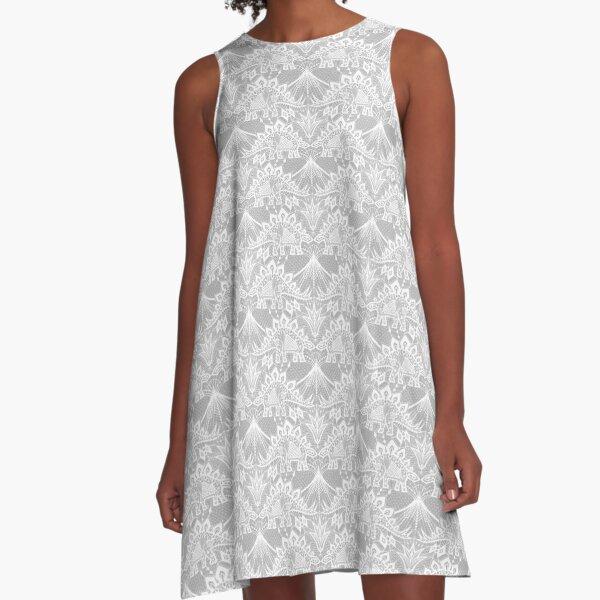 Stegosaurus Lace - White A-Line Dress