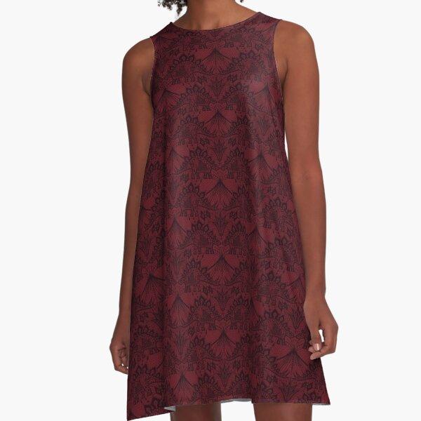Stegosaurus Lace - Burgundy A-Line Dress