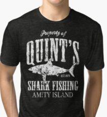 Quints Shark Fishing Amity Island Tri-blend T-Shirt