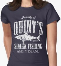 Quints Shark Fishing Amity Island Women's Fitted T-Shirt