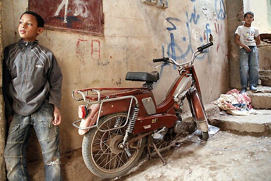 2 Kids and a Motorcycle - Tinerhir Morocco by Debbie Pinard
