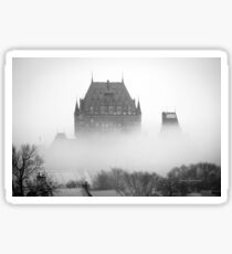 A Foggy Morning engulfs Chateau Frontenac Black and White Sticker