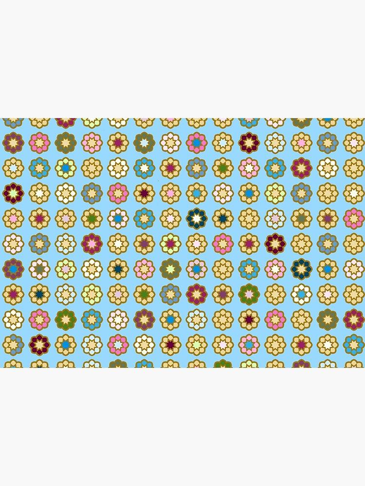 «Parterre de fleurs, fond bleu, hippie style» par patricmouth